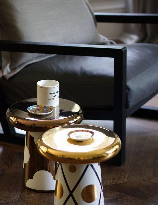 Unique mushroom coffee tables in a designed interior