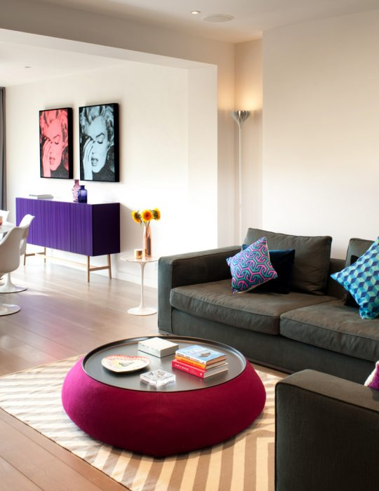 Curated art depicting Marilyn Monroe sit in a stylishly designed living room interior in Hampstead, London