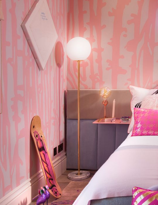 A corner of the quirky interior design created for Holiday House, London