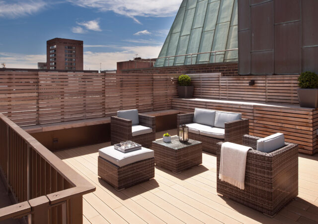 The view from the terrace of an interior design project in Soho, London