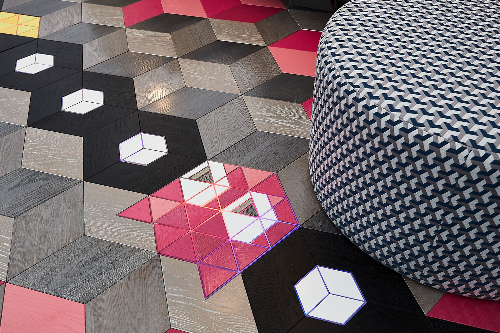 Detail of tiled flooring of interior design exhibition for Decorex 2018 by Studio Suss