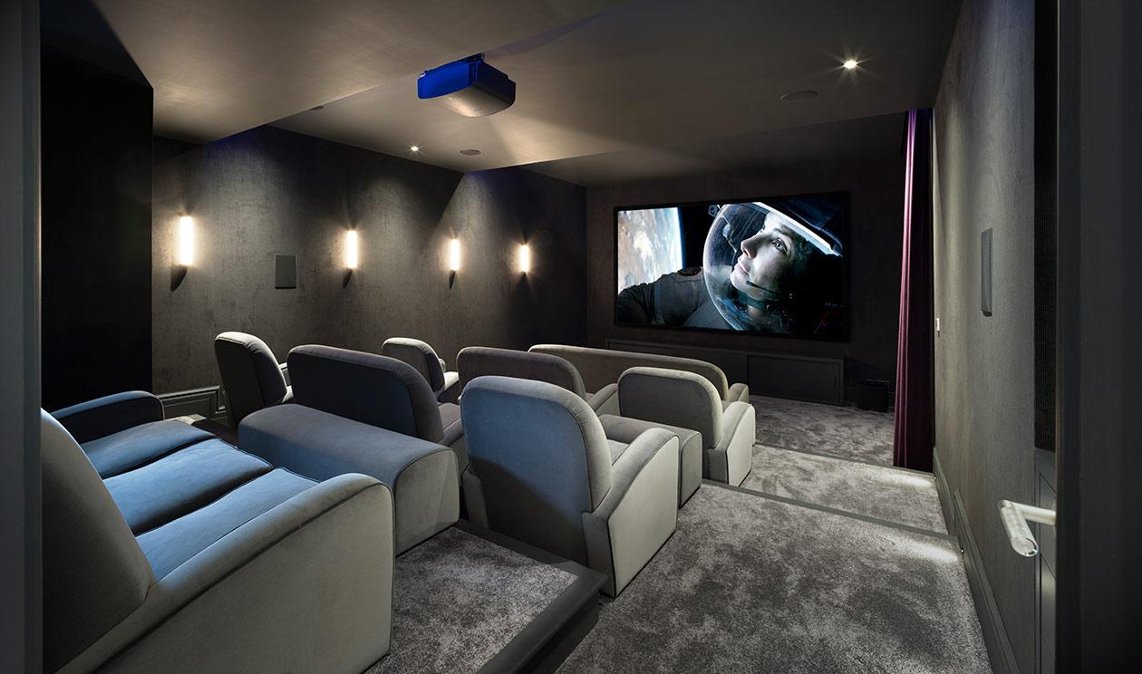 Large home cinema - Luxury sustainable interior design
