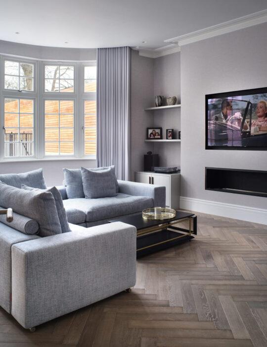 Sitting room ,sofa, TV - Luxury sustainable interior design