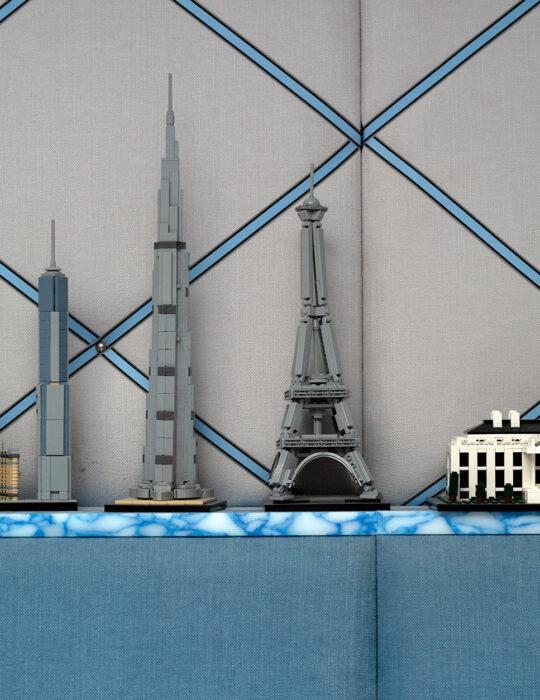 Lego sky scrapers in luxury boy's bedroom - sustainable interior design