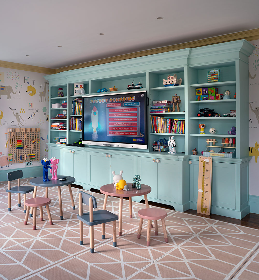 Big wall shelving in bright colours - Luxury sustainable nursery interior design